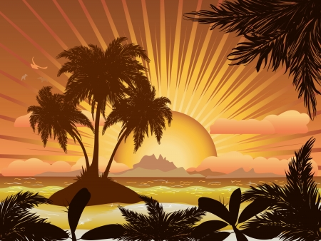 tropical beach panoramic: A tropical island with palms at sunset background. Illustration