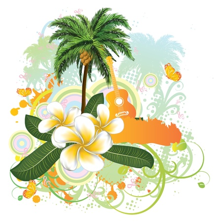 Abstract tropical background with palm trees, white plumeria flowers and guitar.