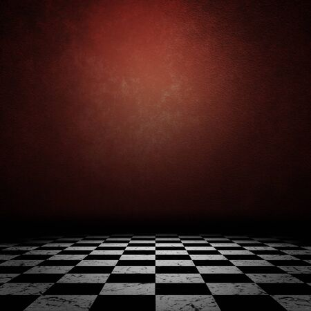 Grunge room interior with old red wall and checkered floor background. photo