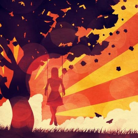Silhouette of a girl on swing under the tree on grunge sunset background. photo
