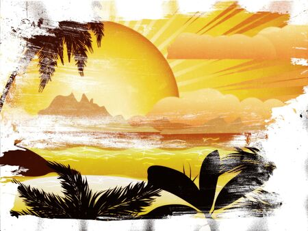 polynesia: Grunge tropical island with palms at sunset background. Stock Photo