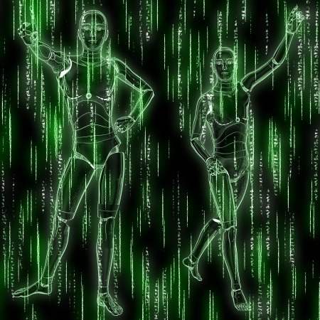 Abstract matrix green background with streaming code and humanoid. photo