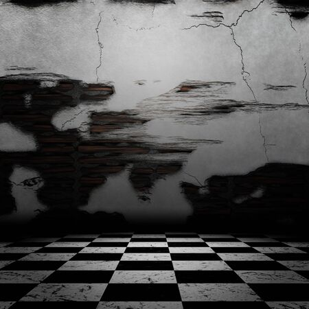 abandoned warehouse: Room interior with old grunge cracked walls and checkered floor. Stock Photo