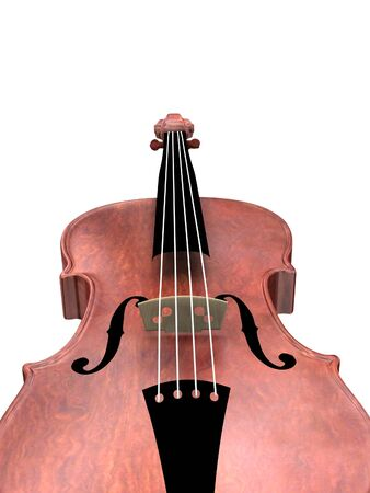 3D digital illustration of violin on the white background illustration