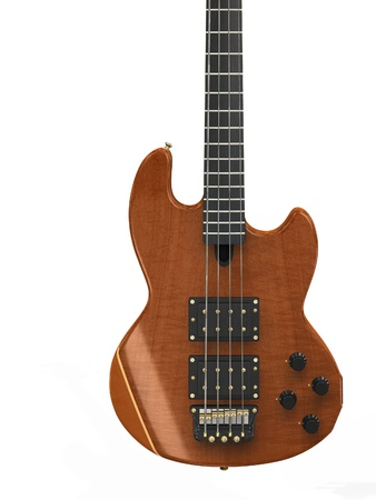 tremolo: Wooden 3d electric guitar isolated on white background.