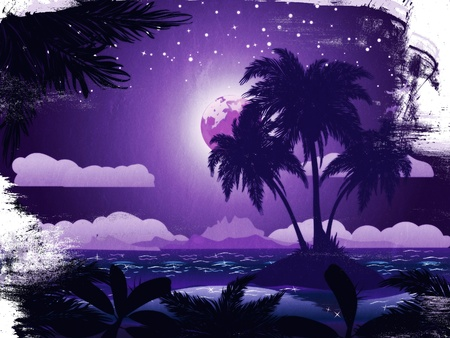 Grunge tropical island at night under starry sky background. photo
