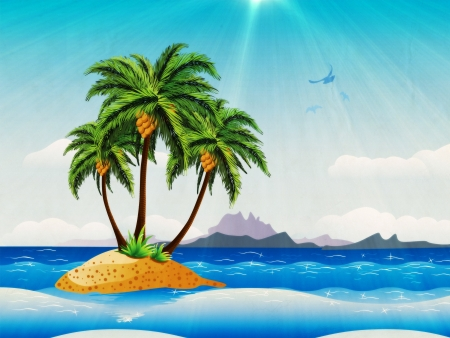 polynesia: Grunge background with tropical island with palm trees in the ocean.