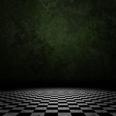 Grunge room interior with old wall and checkered floor background.