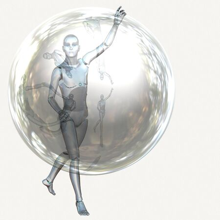 Cyborg, humanoid with transparent sphere, futuristic background. Stock Photo - 19129252