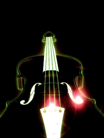 fiddle bow: Abstract glowing 3d violin over black background.