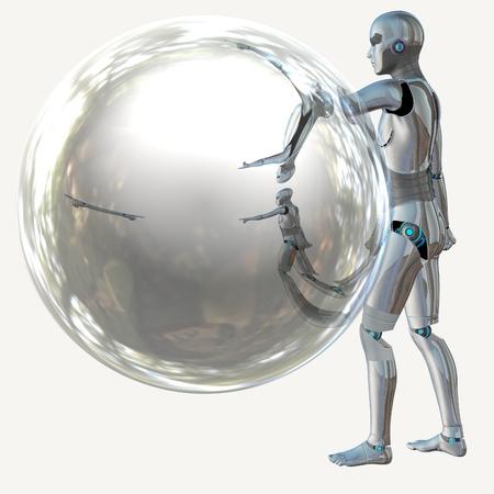 Cyborg, humanoid with transparent sphere, futuristic background. photo