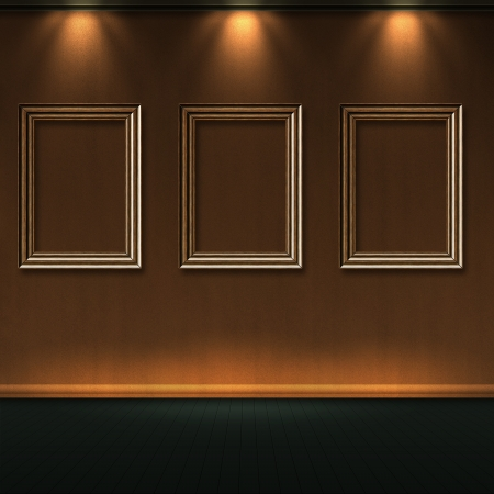 Empty wooden frames in room with lights on wall. photo