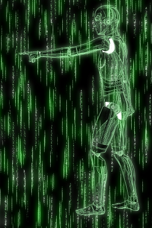 Abstract green background with humanoid and code streaming. Stock Photo - 19164660