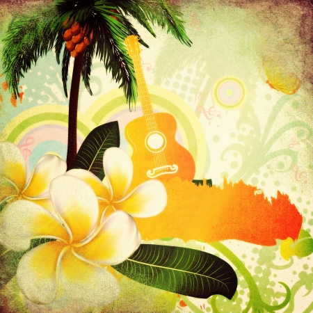 Abstract grunge tropical background with palm trees, white plumeria flowers and guitar.