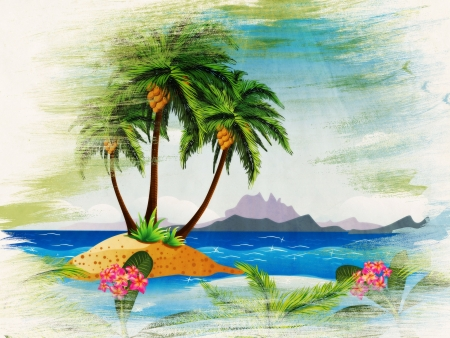 lagoon: Grunge background with tropical island with palm trees in the ocean.