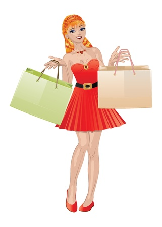 red haired: Fashion shopping red haired girl in red dress with shopping bags.