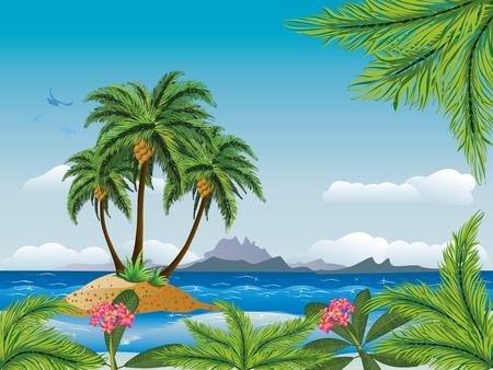 cocos: A tropical island with palm trees in the ocean.