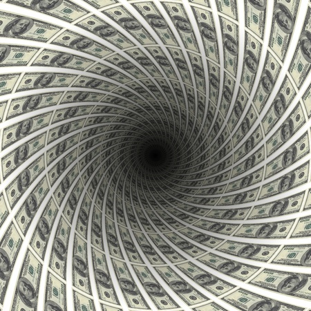 Dollars flow in black hole, 3d illustration. Stock Photo