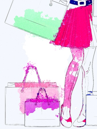 holiday shopping: Digital watercolor picture of a womans legs and shopping bags.