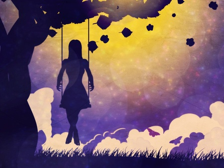 Silhouette of a girl on swing under the tree at night time grunge background. photo