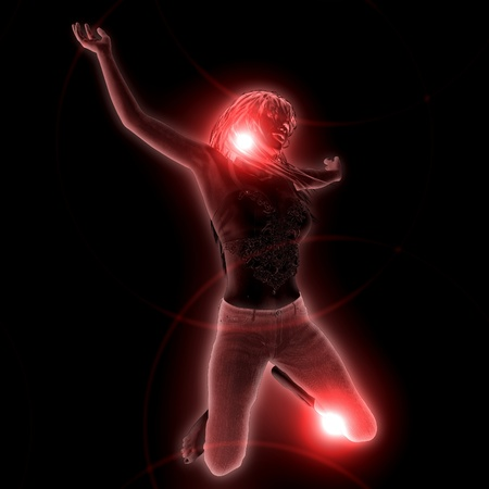 3d girl with red glowing effect on black background. photo
