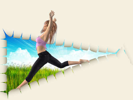 3d woman jumping out of hole in paper reveal grass field. photo