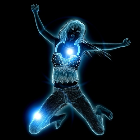 3d girl with blue glowing effect on black background. photo