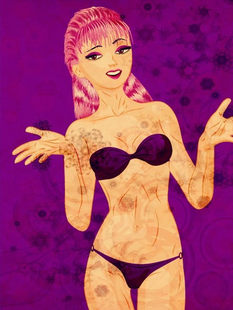 Young beautiful cartoon girl with purple hair in violet bikini on grunge background. photo
