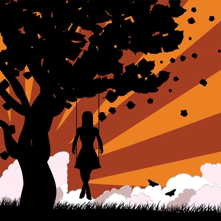 Silhouette of a girl on swing under the tree on sunset background. Vector
