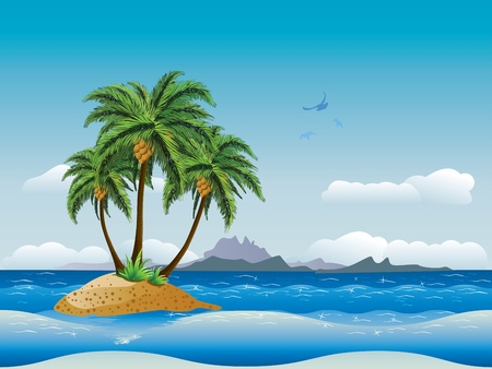 A tropical island with palm trees in the ocean.