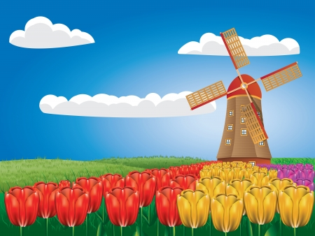 Cartone animato paesaggio con un mulino a vento tradizionale e fiori di tulipano.