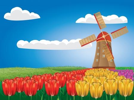 Paisaje de la historieta con un molino de viento tradicional y flores de tulipán.