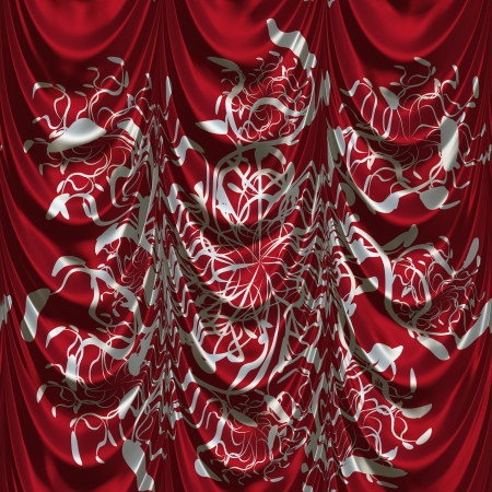 Vintage red satin curtains with pattern background. Stock Photo - 19429495