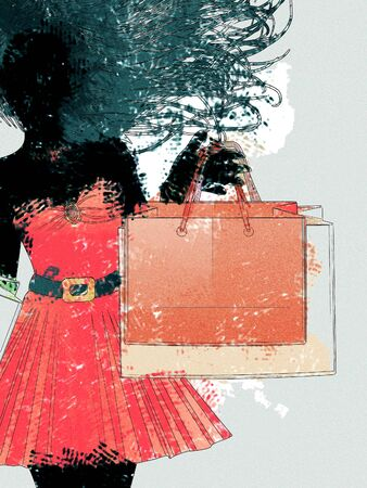 citylife: Black silhouette of a shopping woman in red dress with watercolor effect.