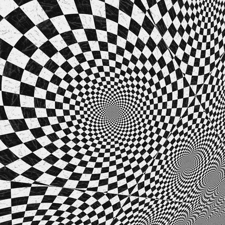 Abstract black and white checkered background with perspective effect. photo