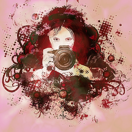 Abstract grunge background with girl photographer with camera in hands. photo