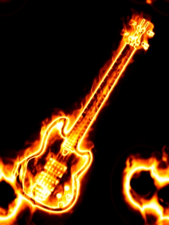 Electronic guitar in flames on a black background. Stock Photo