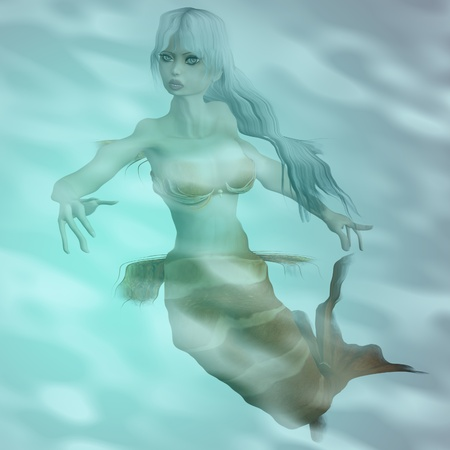 Mythology being mermaid with white hair in water background. Stock Photo - 19429639