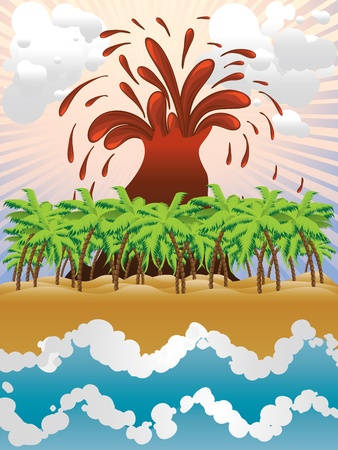 Cartoon tropical island with exploding volcano background. Vector