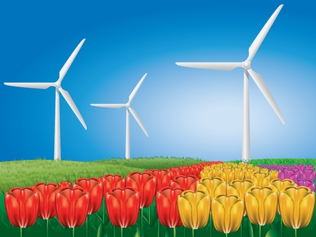 Wind turbines on colorful tulips field background. Illustration