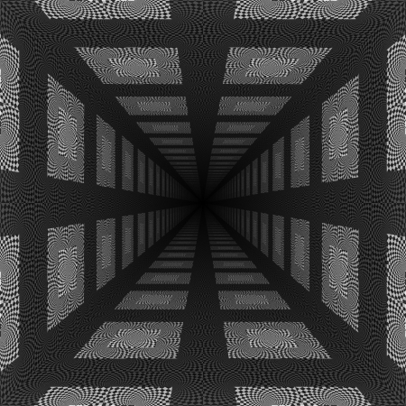 Abstract black and white checkered background with perspective effect.