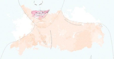 blind girl: Portrait of a woman with pink lips, digital watercolor effect. Stock Photo