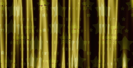 Curtain of yellow color with cute cartoon stars pattern photo