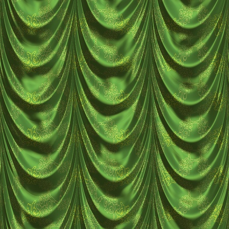 tuck: Vintage green satin curtains with pattern background. Stock Photo