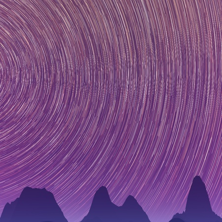 Abstract background with star trails in the night sky and rocks silhouettes. Фото со стока - 19588086
