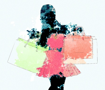 Black silhouette of a shopping woman in red dress with watercolor effect. photo