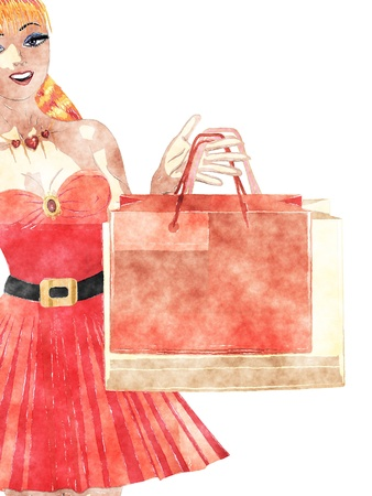 Abstract shopping girl with bags in digital watercolor style picture. photo
