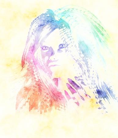 Digital fashion watercolor grunge portrain of a girl. photo