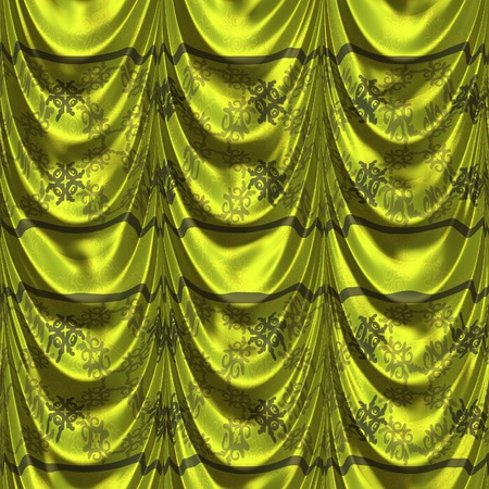 tuck: Luxury curtain of green color with abstract pattern background.