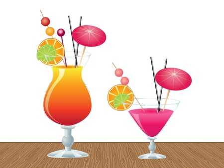 Two glasses of tropic cocktail on wooden table background. Фото со стока - 19758357